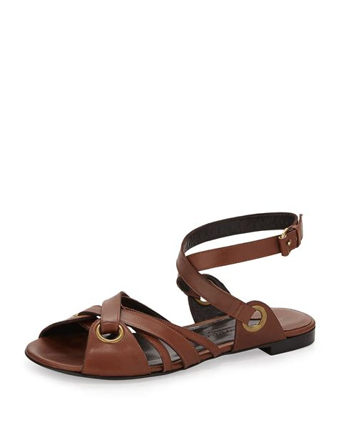 ankle flat sandals donna karan new york crisscross leather ankle flat