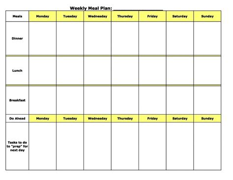 Free Weekly Monthly Meal Plannner Template Printable Editable Daily Planner Template