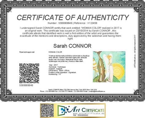 artcertificate certificate of authenticity for artwork
