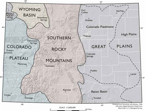 geographical map of colorado colorado geography colorado regions and landforms