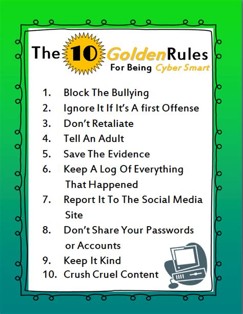 10 Lessons From The Classroom Of by The 10 Golden For Being Cyber Smart Along With A