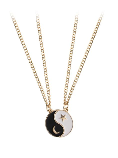yin yang friendship necklace on gold chain set of 2