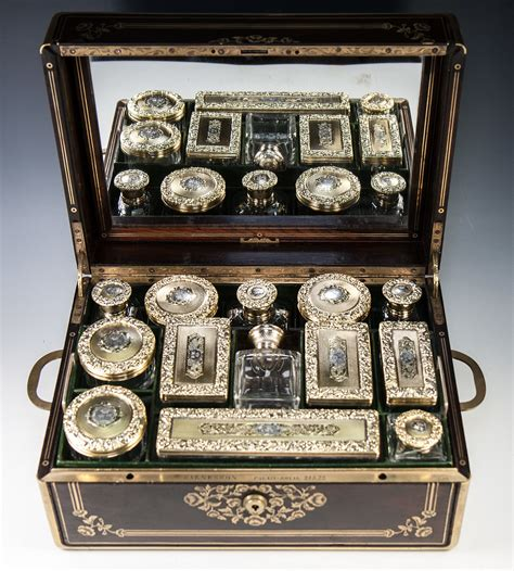 Crown Vanity by Crown 19th C Antique Palais Royal Dressing Travel