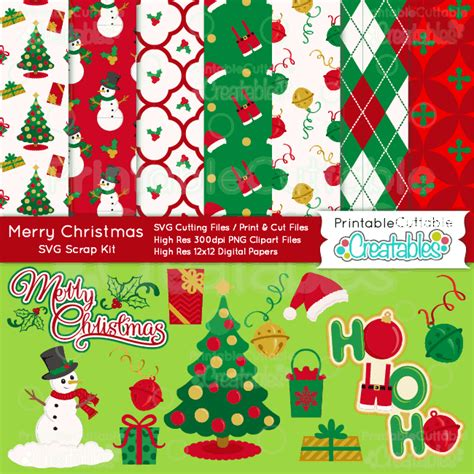 merry christmas craft bundle svg cut files digital paper