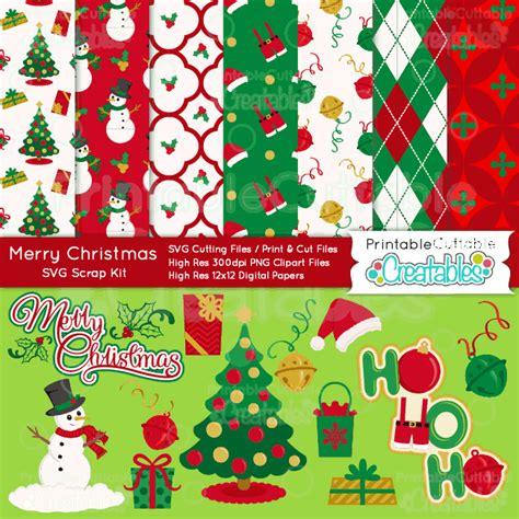 merry christmas craft bundle svg cut files digital paper