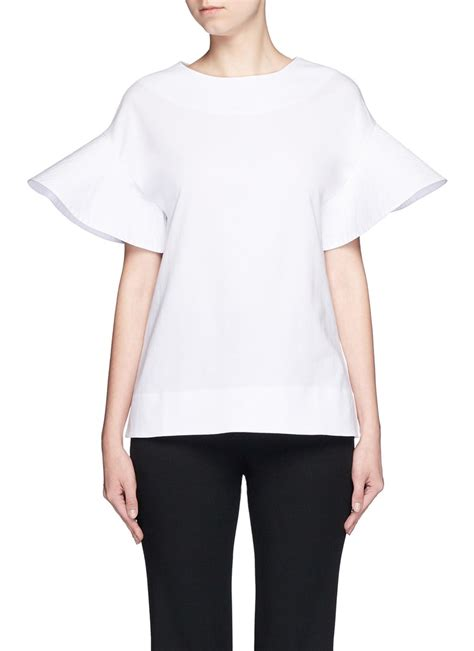 White Cly 2in1 beckham flare sleeve jersey t shirt in white lyst
