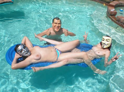 Hot Chick With Guy Fawkes Masks Summer Time And The