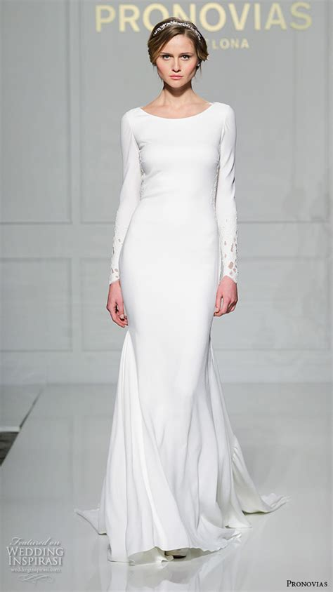 Simple Wedding Gowns With Sleeves by Pronovias 2016 Wedding Dresses New York Bridal Runway