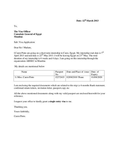 visa covering letter exle