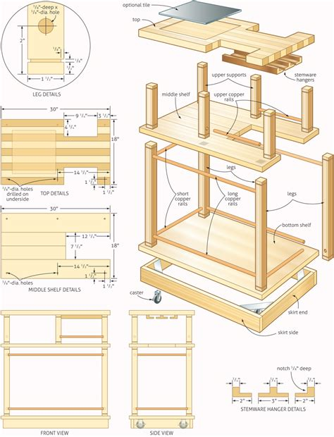 rolling bar woodworking plans woodshop plans