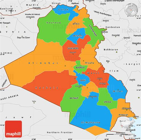 the map of iraq political simple map of iraq single color outside