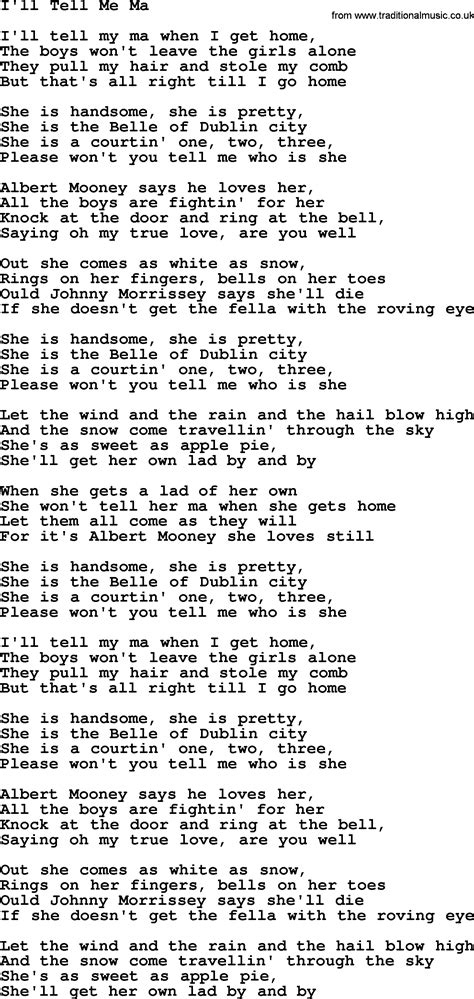 i ll tell me ma by the dubliners song lyrics and chords