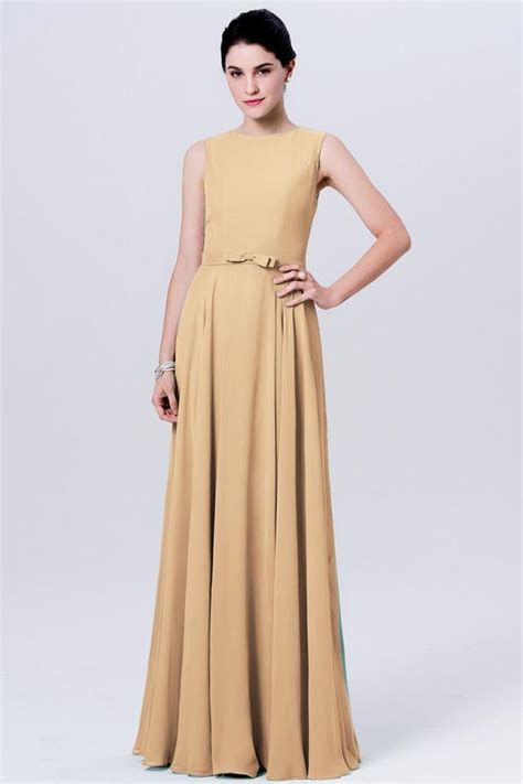 chic gold bridesmaid dresses long   scoop cheap