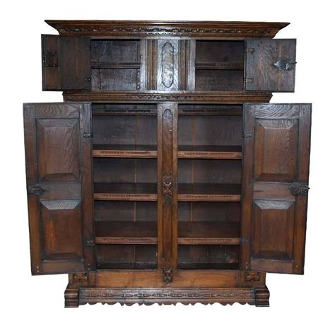 Oakwood Cabinets by Early 18th Century Carved Oakwood Cabinet For Sale At