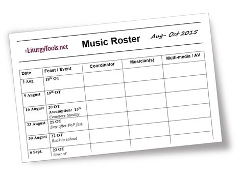 worship schedule template liturgytools net blank template for a church roster