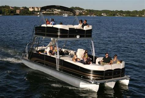 deck boat with slide double decker pontoon with slide norris lake