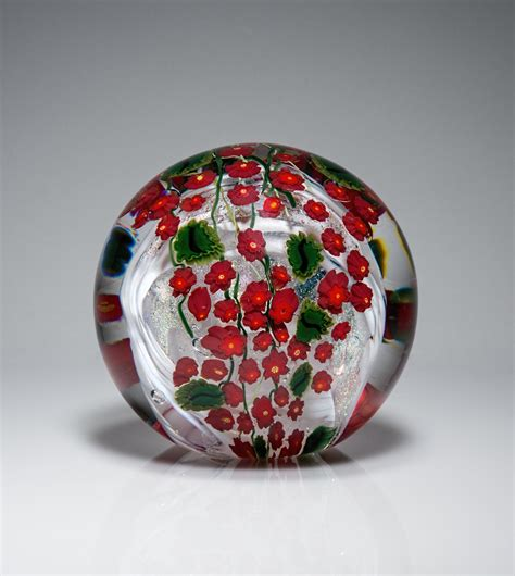 Glass Paper Weight - poinsettia paperweight by shawn messenger glass