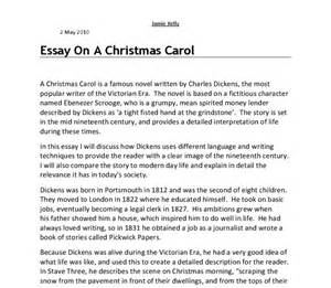 A Carol Essays by An Essay On A Carol I Will Discuss How Dickens Uses Different Language And Writing