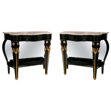 mirrored console for sale pair of maison jansen mirrored back consoles for sale at