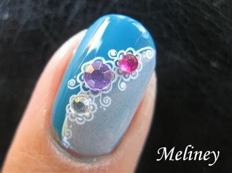 nail art konad tutorial konad sting nail art tutorial bejeweled rhinestone