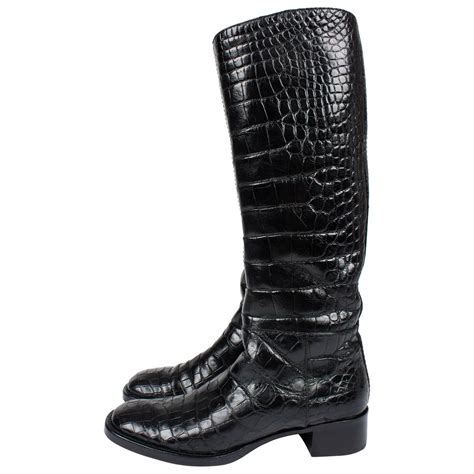 crocodile boots for sale prada boots crocodile leather black for sale at 1stdibs