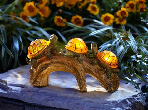 Solar Powered Patio Lights Turtles On A Log Solar Powered Outdoor Led Light Day Decor Pool Ebay