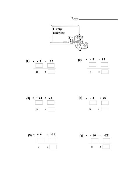 One Step Equations Worksheet by One And Two Step Equations Worksheet Jennarocca