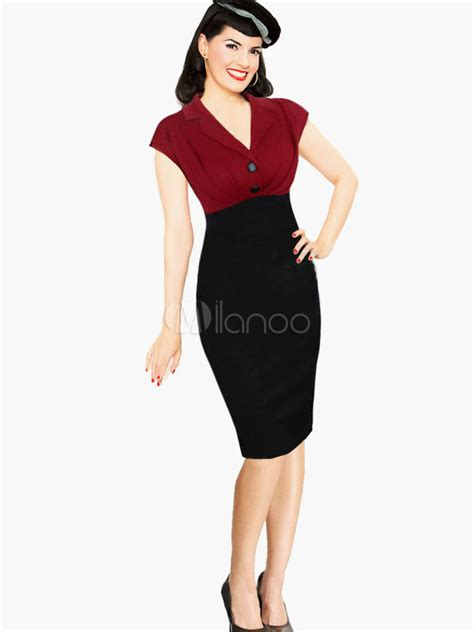 V Slim Dress Black W6966ni D black v neck slim fit vintage dress milanoo
