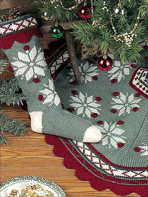 knitted christmas tree skirt pattern a knitting blog scandinavian snowflake tree skirt stocking
