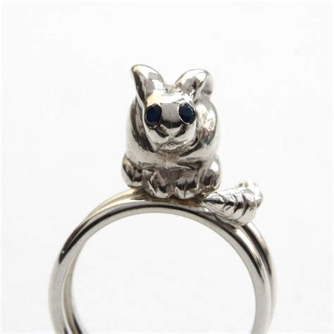 Bunny Ring bunny carrot rings silver blue sapphires by rock