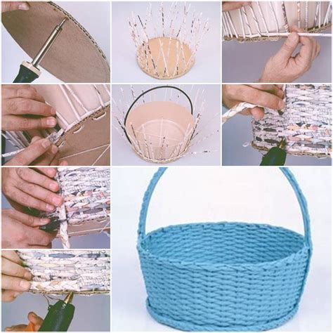 Paper Basket Craft Ideas - how to make simple newspaper basket step by step diy