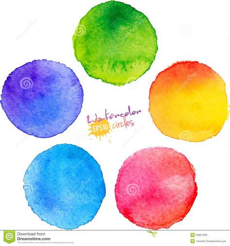 colorful isolated watercolor paint circles stock photos image 35607333