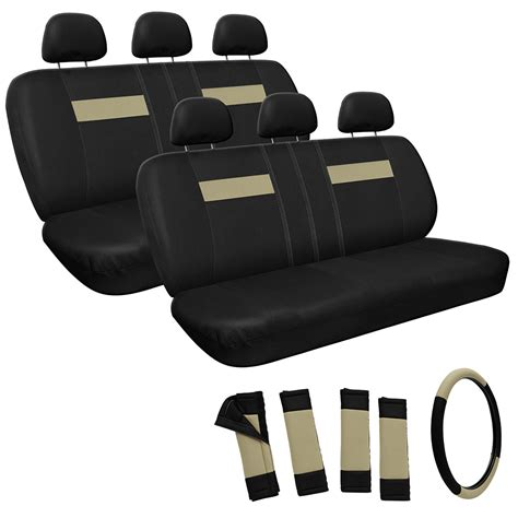 car seat bench tan and black basic 2 two bench row car seat covers