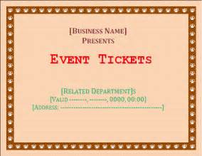 Ticket Templates Free by Event Ticket Template Free Microsoft Word Templates