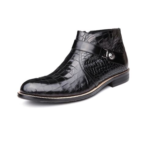 2016 new arrival men s luxury fashion brand design ankle boots casual crocodile genuine leather