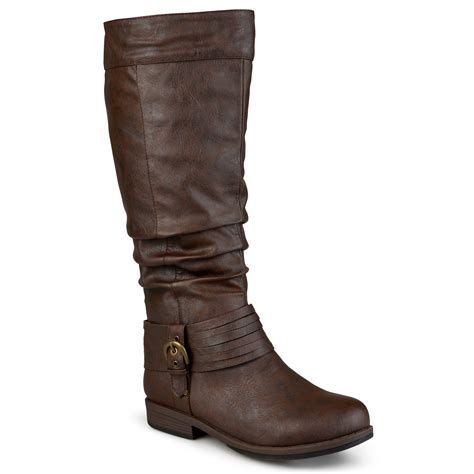 wide calf slouch boots journee collection womens wide calf slouchy buckle detail