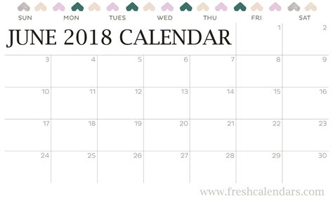 printable calendar 2018 large june 2018 printable calendar templates