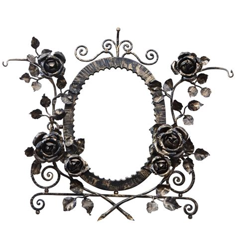 iron mirror wall decor deco wrought iron floral wall mirror for sale