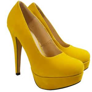Mustard Yellow Duvet New Womens Yellow Suede Platforms Fashion High Heels Court