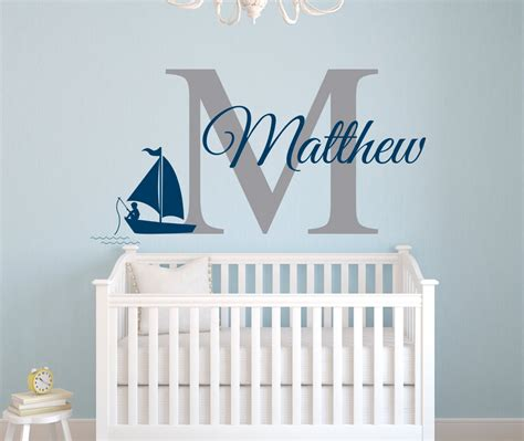 Nautical Name Wall Decal Fishing Boy Wall Decal Nursery Nautical Wall Decals For Nursery