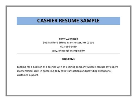 Resume Objective For Cashier Cashier Resume Sle Pdf