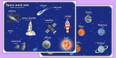 Space Word Mat by Space Word Mat Arabic Translation Arabic Space Word Mat