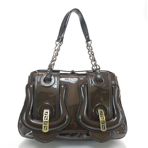 Fendi Patent B Bag Is Oh So by Fendi Vernice Patent B Bag Bronze 34723