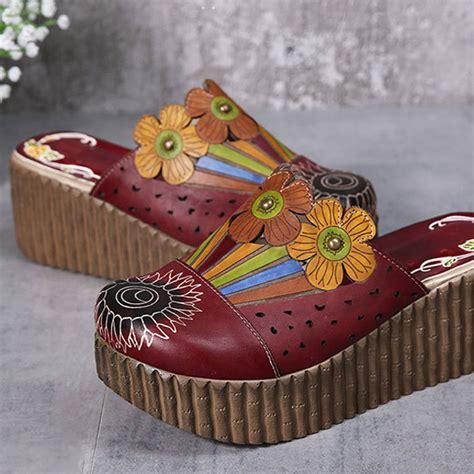 Sandal Cewek Original Handmade socofy original handmade flower slip on retro sandals us 76 19