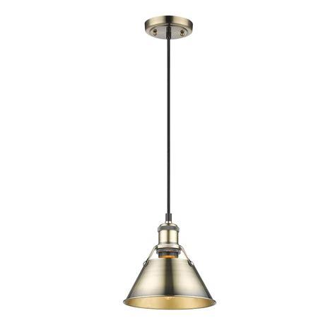aged brass pendant light golden lighting orwell ab 1 light aged brass pendant with