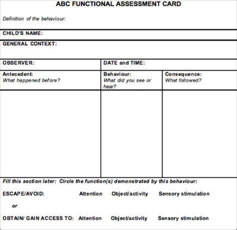 Abc Functional Assessment Card Connectability Functional Behavior Assessment Template Word
