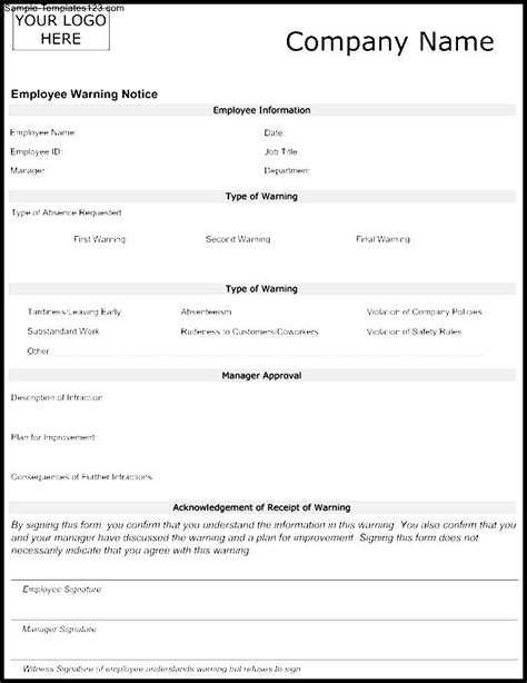 employee warning notice template sle templates