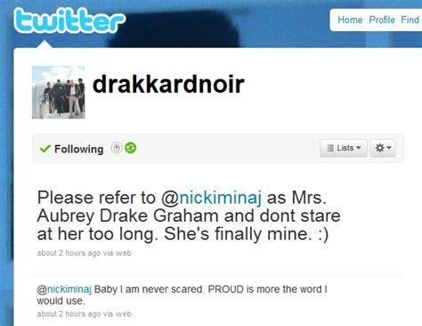 Twitter Drake   wedding bliss nicki minaj and drake married jnel j