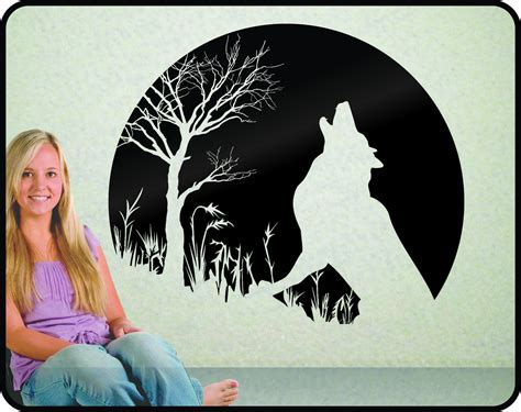 wolf wall stickers howling wolf and moon wall decal striking and vinyl