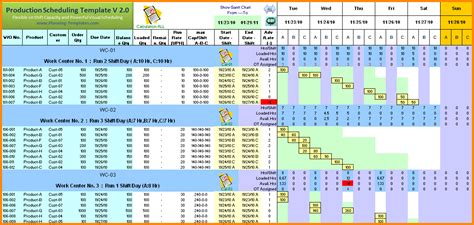 production schedule template  excel cards design